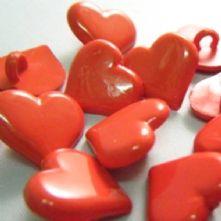 Novelty Little Red Heart Shank Buttons x 10